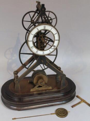 A 19thC brass fusee skeleton clock