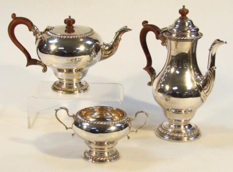 An Elizabeth II silver three piece tea and coffee service