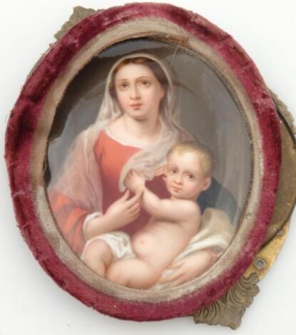 A late 19thC porcelain plaque