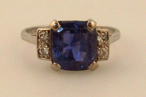 A ladies claw set sapphire ring
