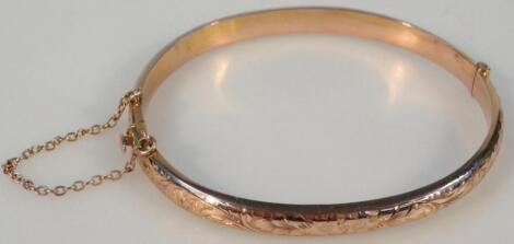 A 9ct gold hollow bangle