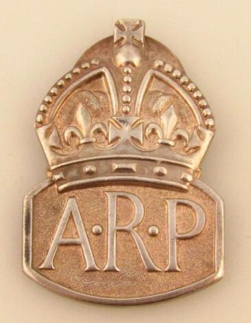 A George VI silver Air Raid Patrol (ARP) silver badge