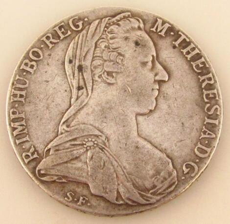 An 18thC Maria Theresa silver thaler coin