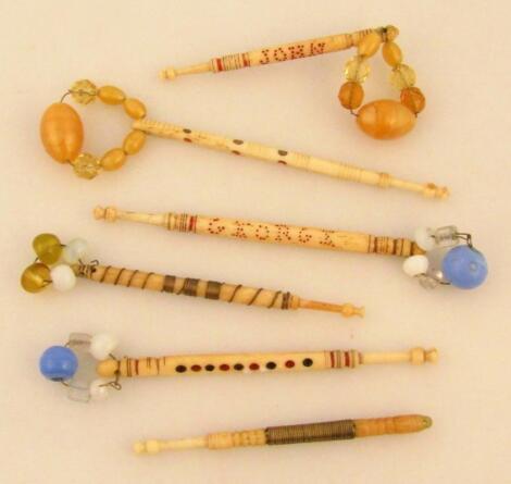 Various Georgian ivory and bone lace bobbins