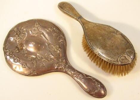 A Edward VII silver hand mirror