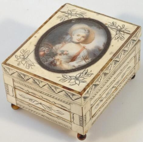 An early 20thC ivory finish jewellery casket