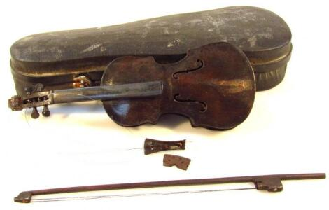 An early 20thC tradesman or trial piece miniature violin