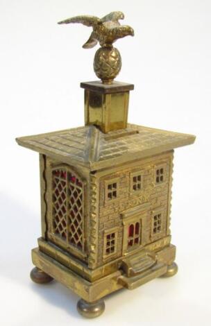 A mid-19thC brass house money box