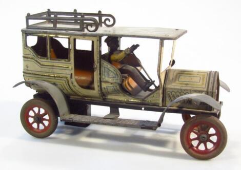 A 20thC German tin plate Landaulette clockwork car