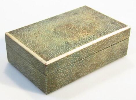 A late 19thC shagreen cigarette box