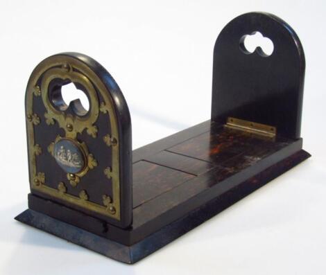 A mid-19th coromandel brass and Jasper extending book slide