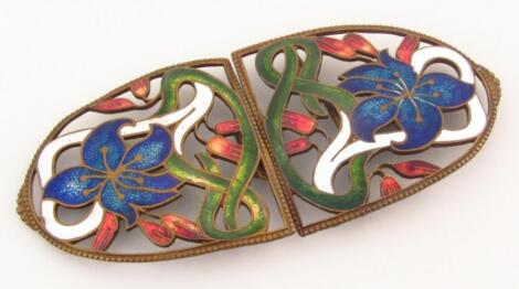 A pair of late 19thC enamel copper backed buckles