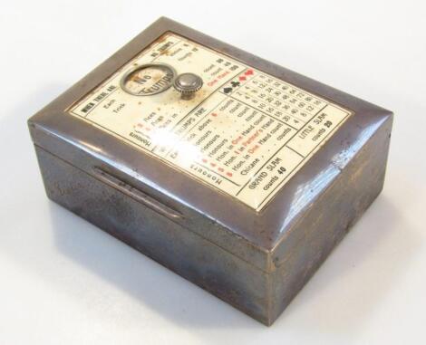 An Edwardian silver bridge card box and scorer
