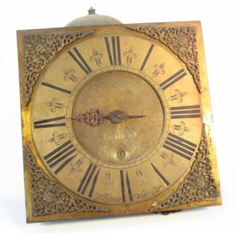 A late 18thC brass faced clock movement