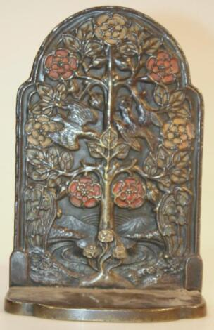 A late 19thC naturalistic Arts and Crafts metal bookend