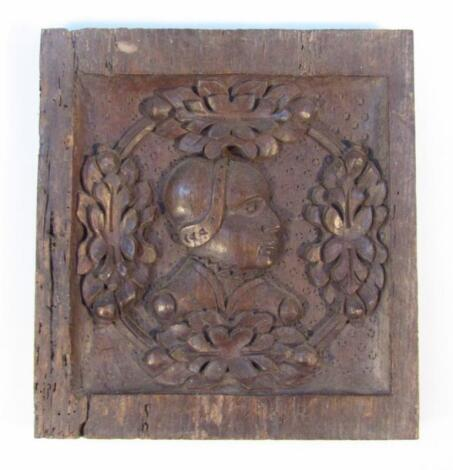 An early 18thC Continental oak panel