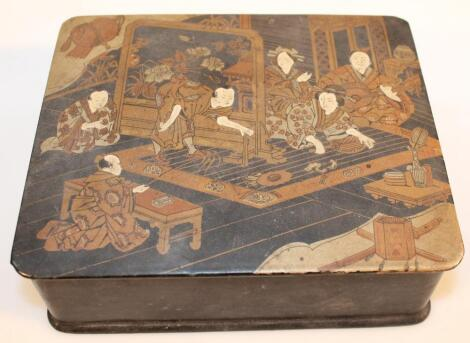 A 19thC Japanese black lacquer jewellery box