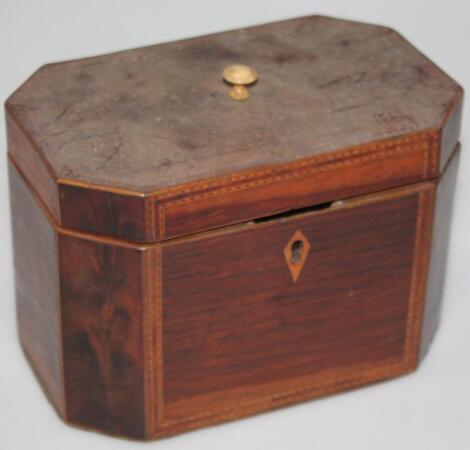 A George III octagonal shaped walnut rosewood and straw inlaid tea caddy