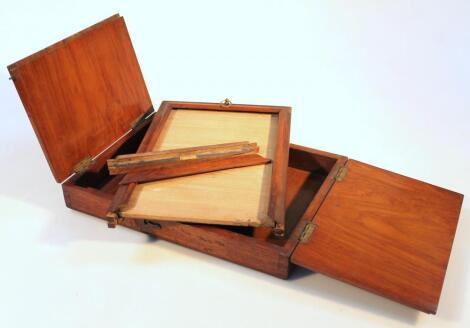 A late 19thC mahogany cased travelling artist's box