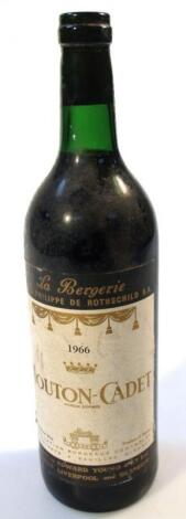 A bottle of 1966 Philippe De Rothschild Mouton-Cadet red wine