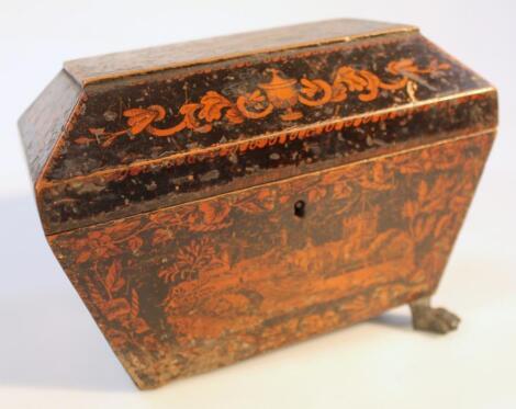 A Regency black lacquer tea caddy