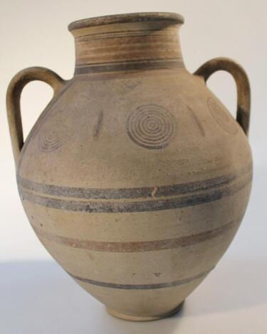 A Neolithic hand thrown pottery vase