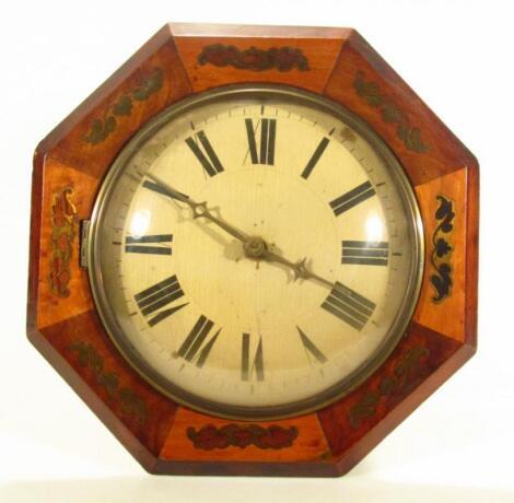 A 19thC walnut cased octagonal wall clock