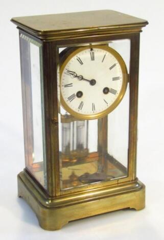 A late 19thC brass cased mantel clock