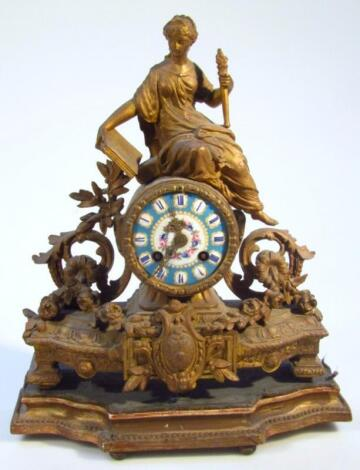 A late 19thC gilt metal mantel clock