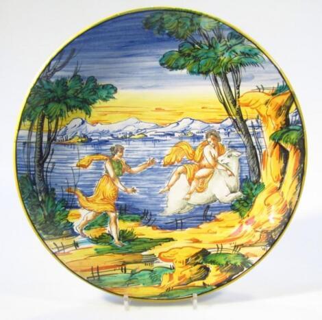 A 17thC style Italian Maiolica Urbino design dish