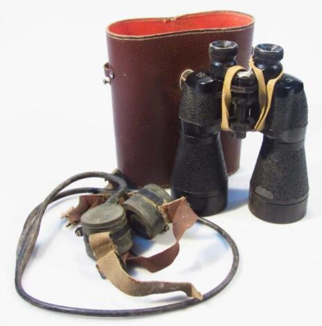 A pair of US Pattern pressed leather binoculars