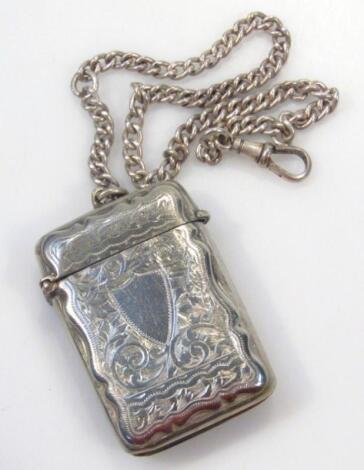 An Edwardian silver plated vesta case