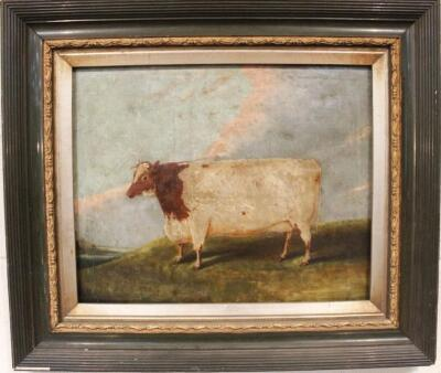 Early 19thC English Naive School. A short horned cow in a field - 2