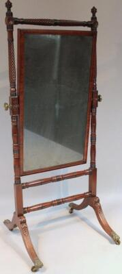 A Regency mahogany cheval mirror