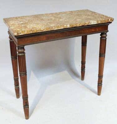 A Regency mahogany marble topped side table