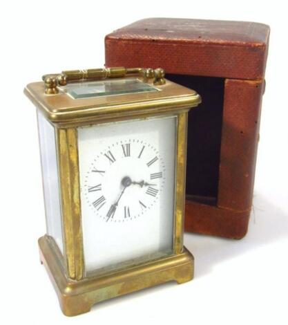 An early 20thC brass cased carriage clock