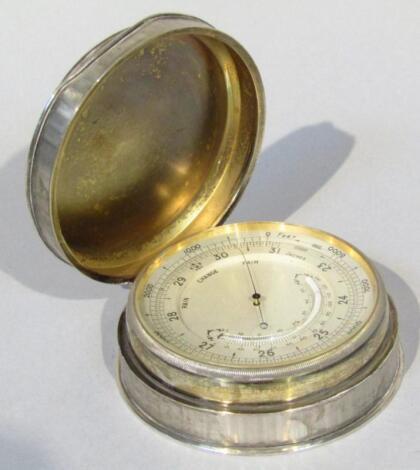 An Edwardian silver cased pocket barometer