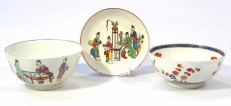 An 18thC English porcelain bowl and saucer
