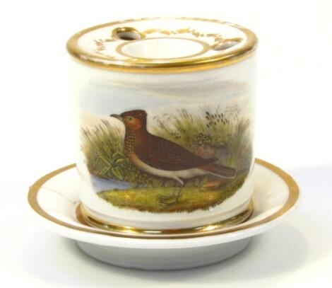 An early 19thC Chamberlains Worcester porcelain ink well