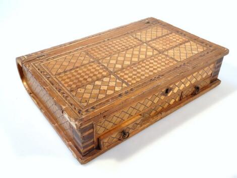 An early 19thC straw work prisoner of war book shaped box