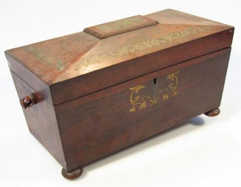 A Regency rosewood and ormolu mounted tea caddy