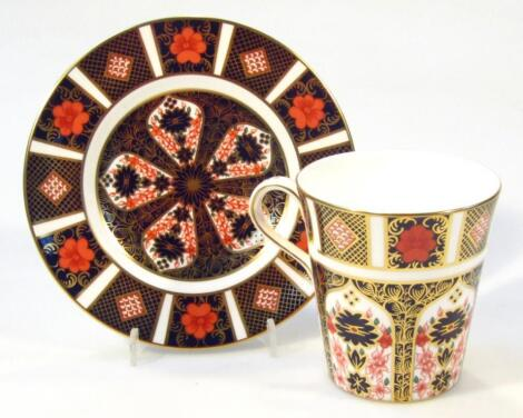 A Royal Crown Derby Imari pattern coffee cup and saucer