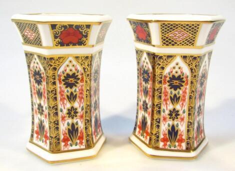 A pair of Royal Crown Derby Imari pattern vases