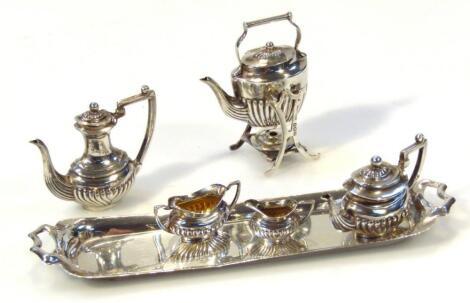 An Edwardian novelty silver miniature service