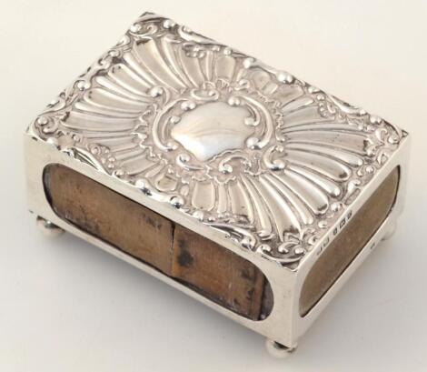 An Edwardian silver matchbox case