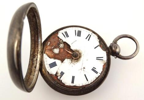 An early 19thC silver cased keywind pocket watch
