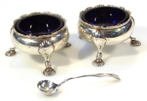 A pair of George III silver open salts