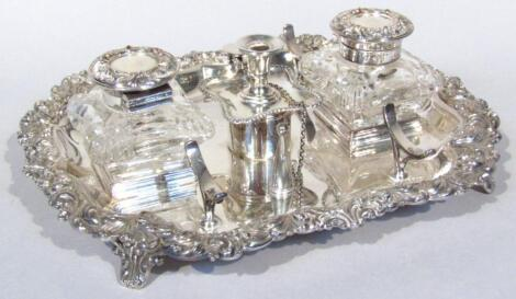 An early 20thC silver plated and glass ink stand