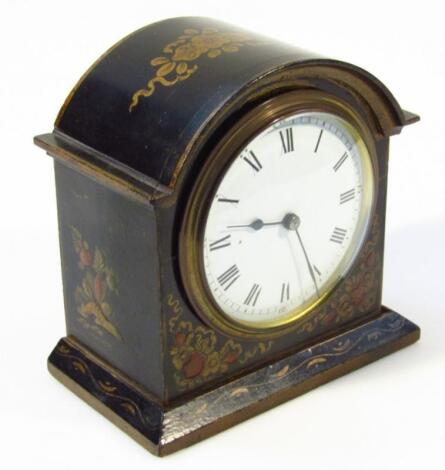 A late 19thC Japanned and lacquered mantel clock
