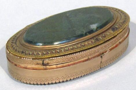 A 19thC gilt metal and polished hard stone patch box
